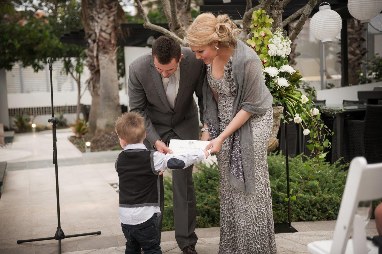 bridal and groom with son