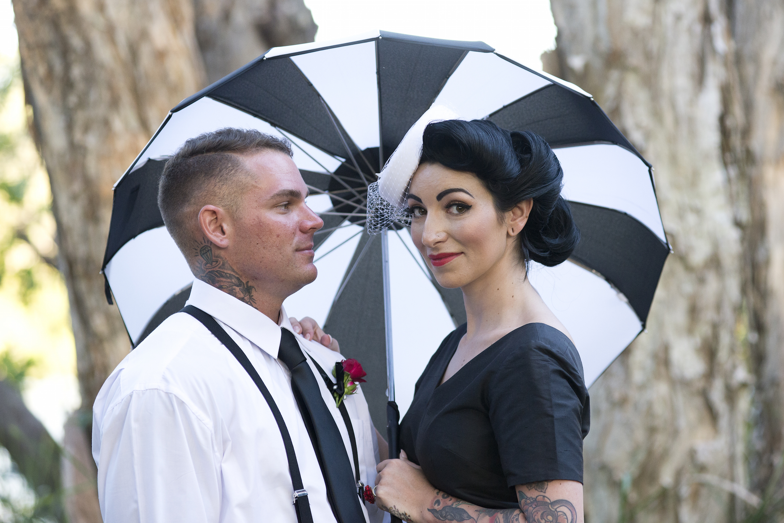 Vintage fashion inspired black and white wedding